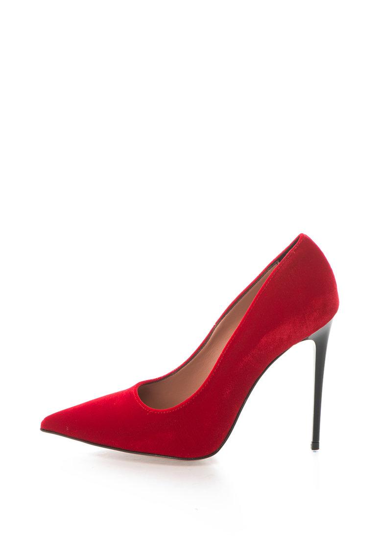 Pantofi cu toc inalt si varf ascutit Denise de la Zee Lane – DENISE-510-VELLUTO-ROSSO-ZNE