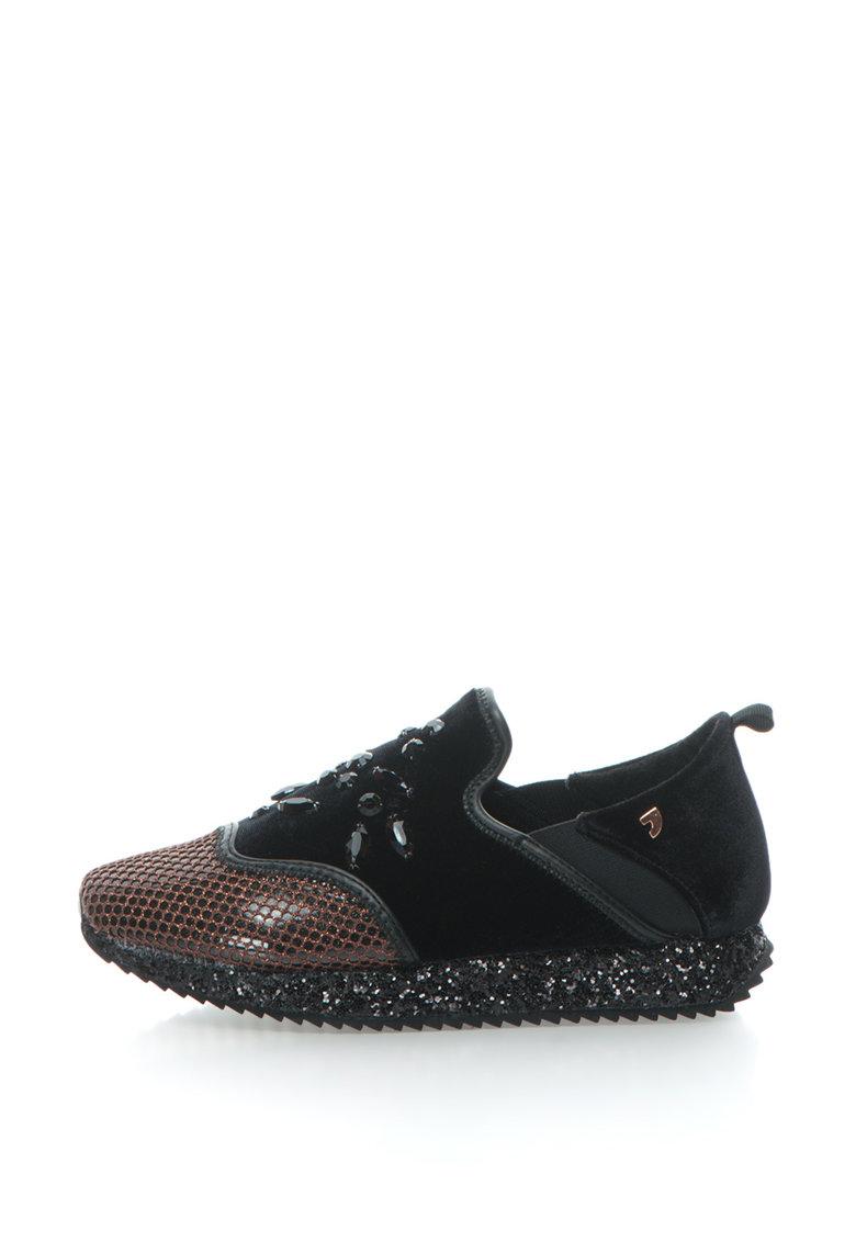 Pantofi slip-on cu strasuri si insertii stralucitoare Gioseppo