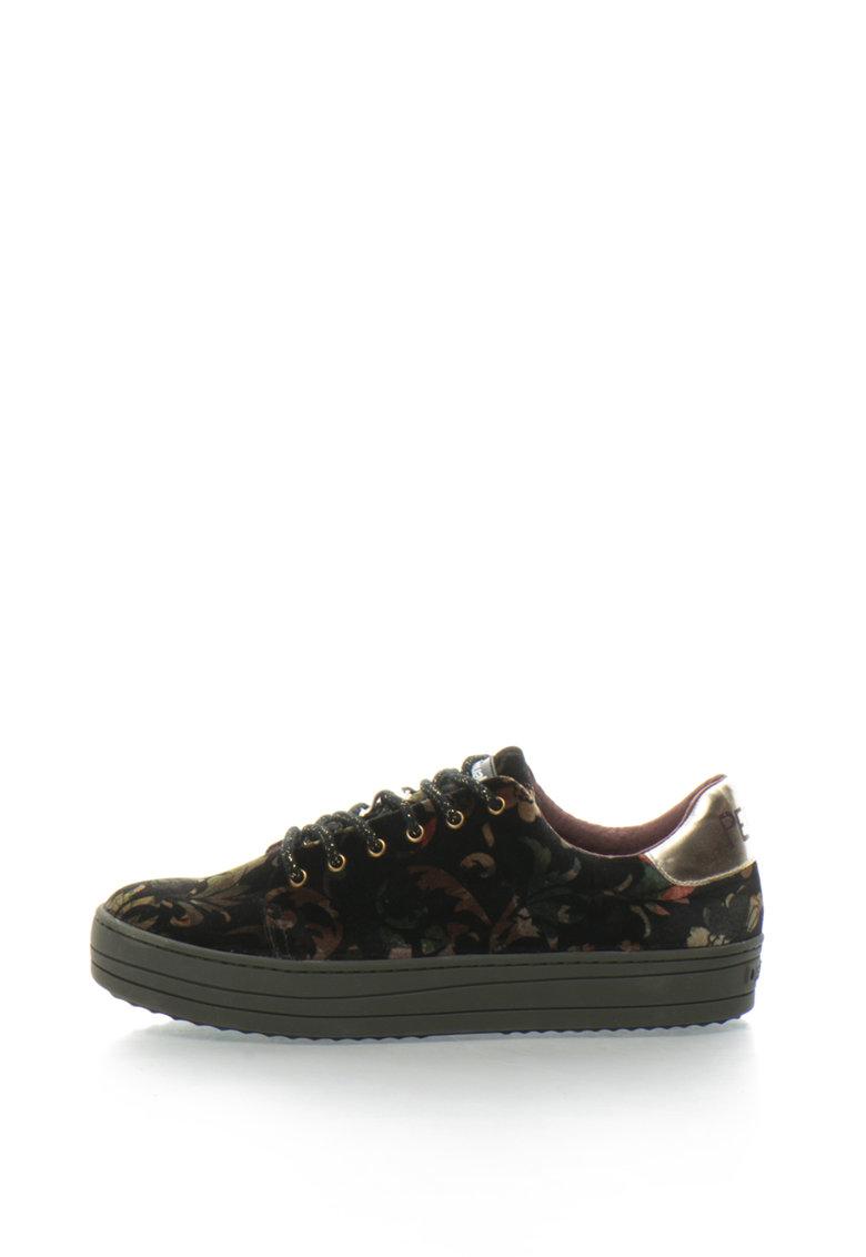Pantofi sport flatform de catifea cu imprimeu floral Funky Sporty