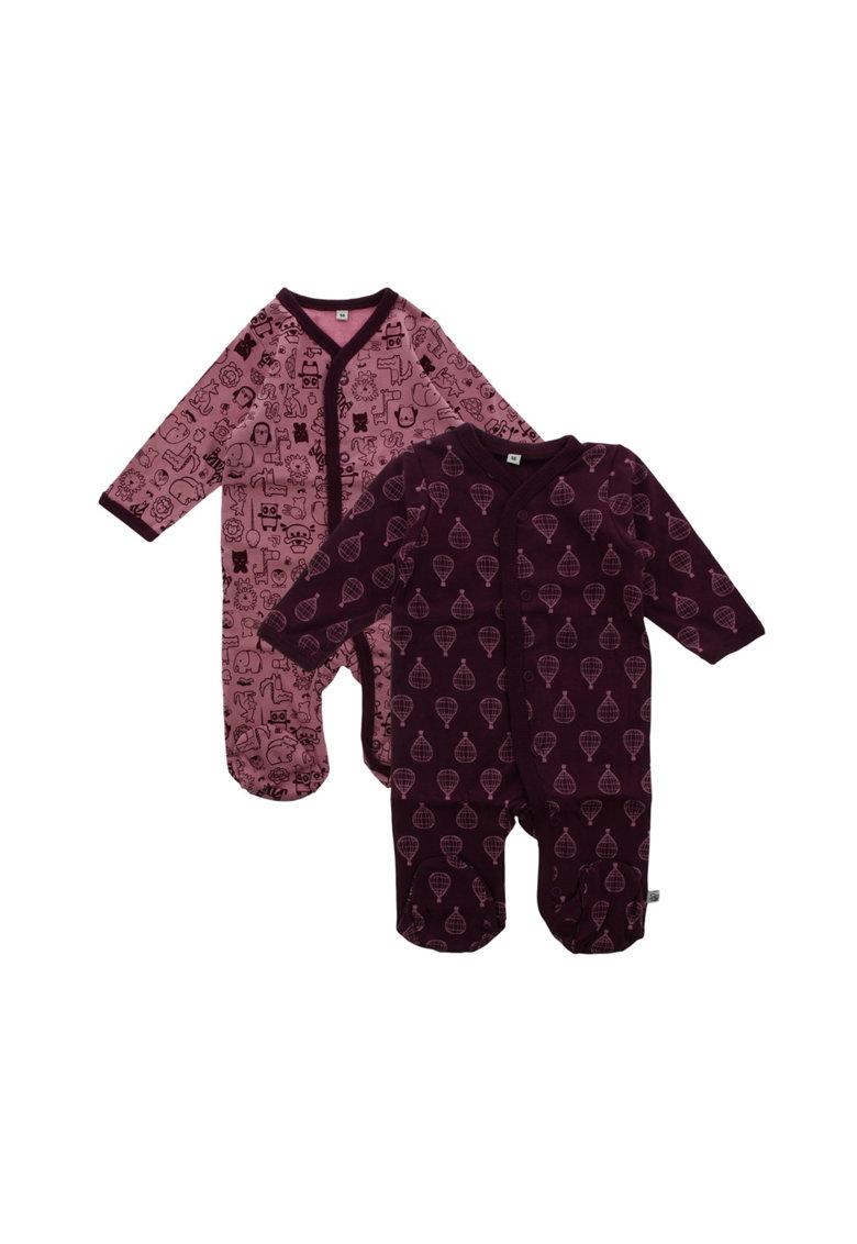Pippi Set de pijamale tip salopeta cu imprimeu