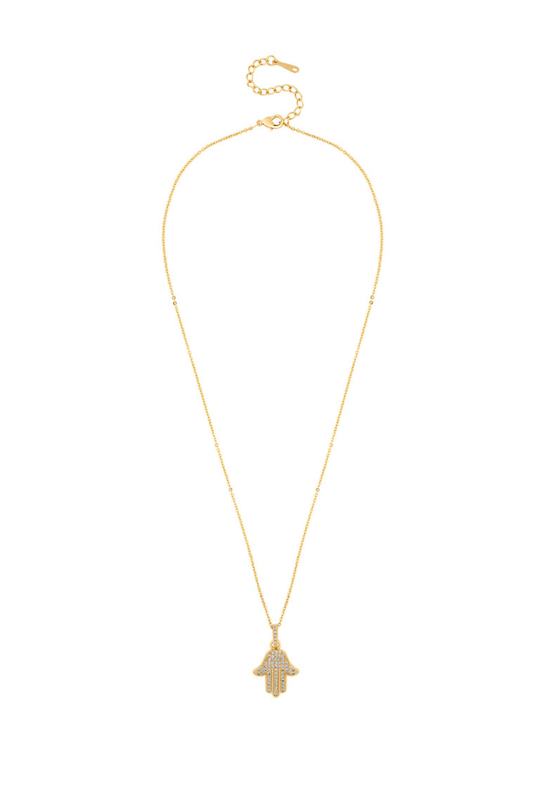 Colier Si Pandantiv Hamsa Placate Cu Aur De 14k Cu Cristale Swarovski