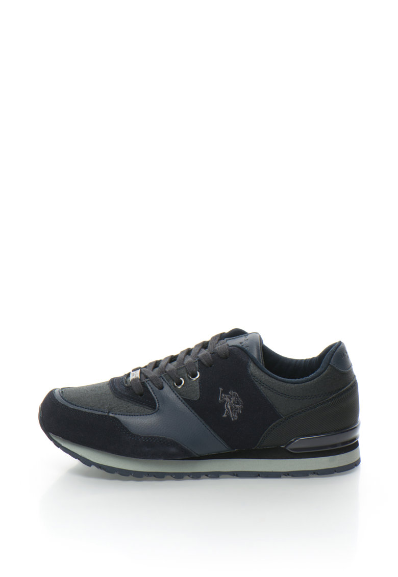 US Polo Assn Pantofi sport de piele intoarsa cu logo