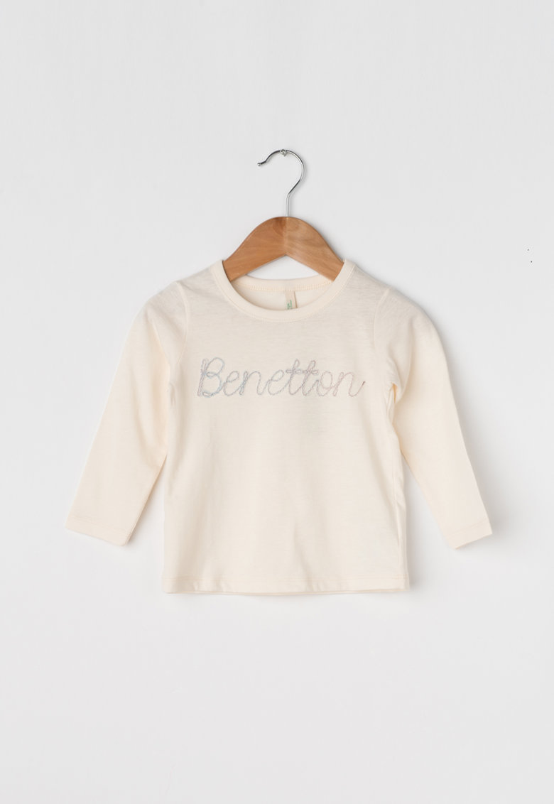 United Colors of Benetton Bluza din bumbac organic cu logo brodat