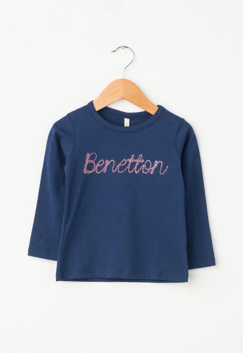United Colors of Benetton Bluza din bumbac organic cu logo brodat