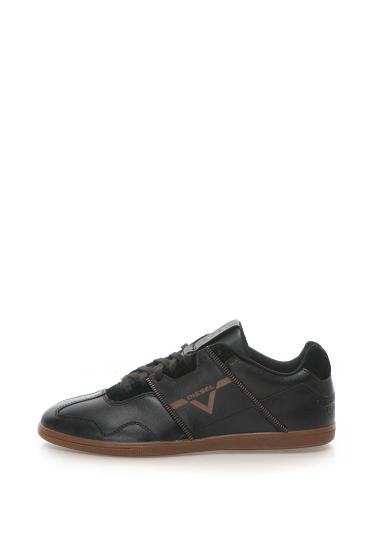 Diesel Pantofi sport de piele si piele intoarsa Zip Luxx