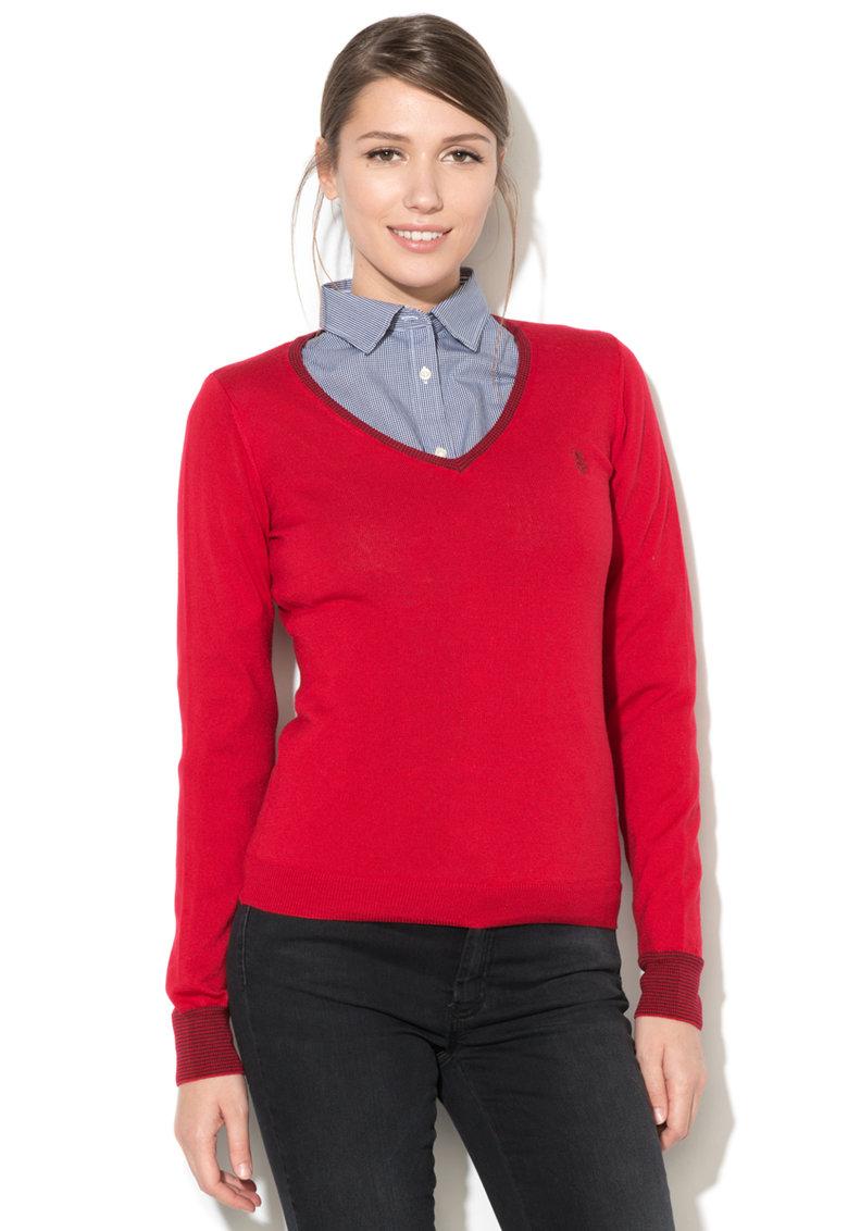 Pulover din lana virgina cu decolteu in V de la US Polo Assn