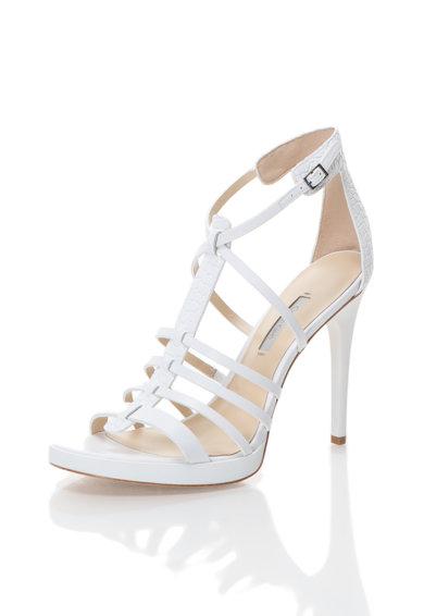 sandale albe din piele cu barete gayle calvin klein. Black Bedroom Furniture Sets. Home Design Ideas