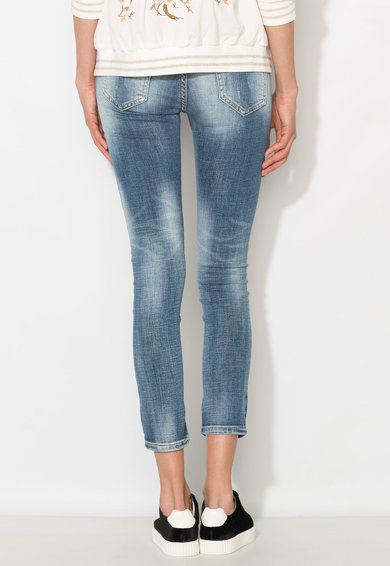Zee Lane Denim Jeansi crop albastri cu pete decorative Femei