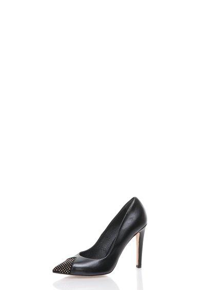 FashionDays.ro: Pantofi negri din piele cu varf decorat cu tinte Roberto Botella