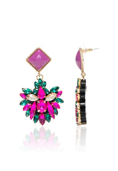Cercei aurii cu cristale roz si verzi