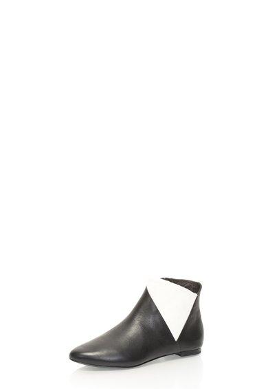 FashionDays.ro: Botine cu talpa plata negru cu alb din piele Arden AERIN