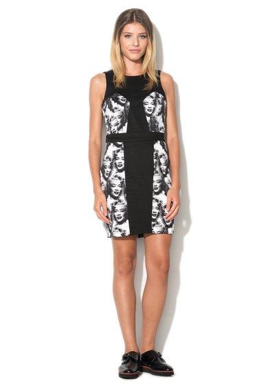 Rochie negru cu alb si imprimeuri Midge