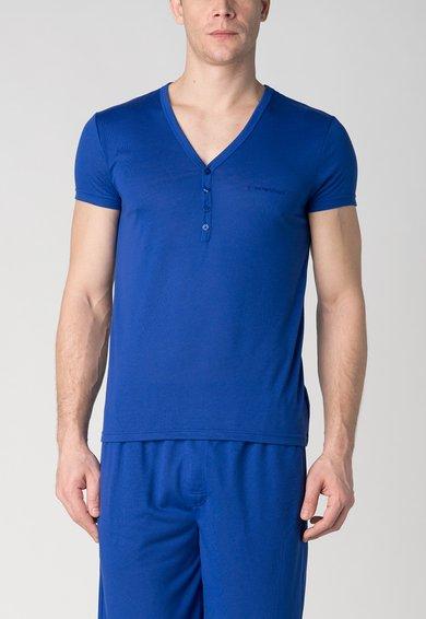 Tricou albastru cu decolteu in V si nasturi