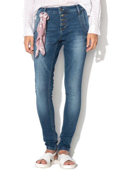 Cream Pantaloni conici albastri din denim Bailey