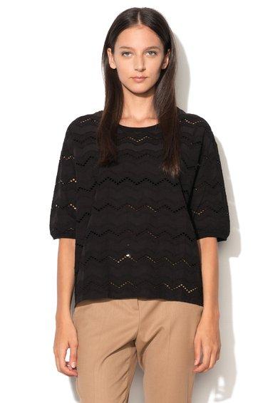 ICHI Bluza neagra cu perforatii Anna