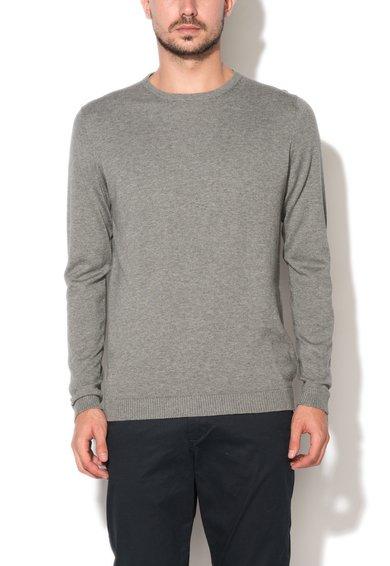 Bluza gri melange tricotata cu decolteu la baza gatului de la Jack&Jones