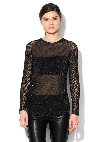 Bluza neagra transparenta cu insertii din lurex argintiu de la Sisley