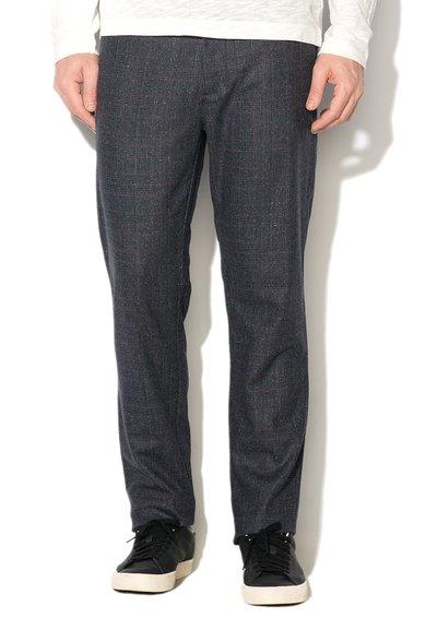 Pantaloni bleumarin melange in carouri de la Sisley
