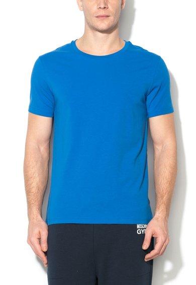 Tricou albastru cu decolteu la baza gatului