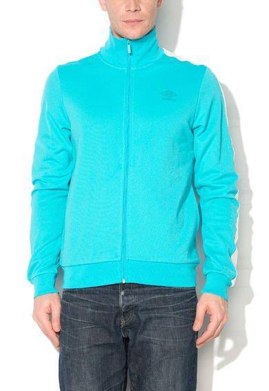 Bluza sport albastru azur cu fermoar si logo