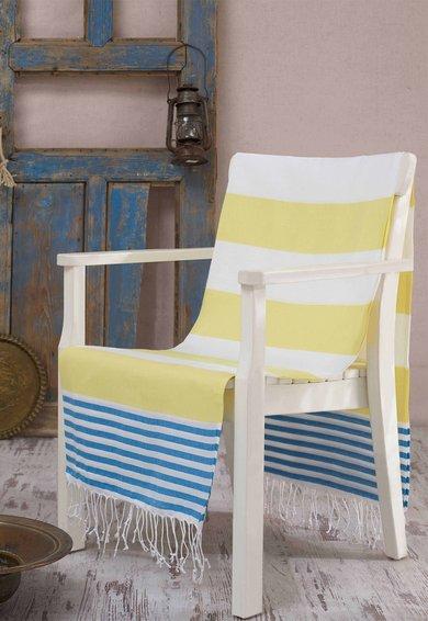 Prosop Fouta alb cu dungi galbene si albastre Antalya de la Leunelle