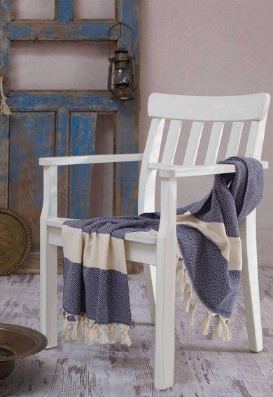 Leunelle Prosop fouta bleumarin cu bej deschis cu model geometric