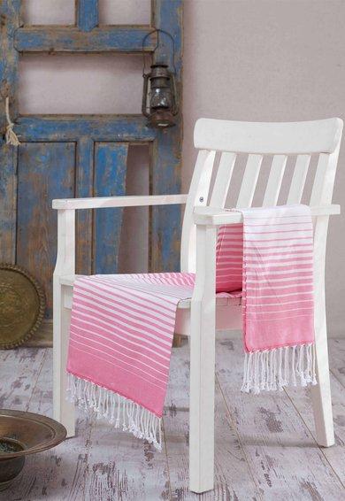 Prosop fouta roz cu alb in dungi de la Leunelle