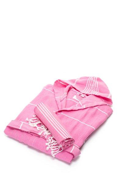 Set de halat de baie si prosop roz Sultan de la Leunelle