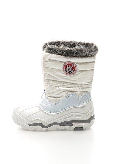 Cizme albe captusite cu garnitura din blana sintetica Lilou