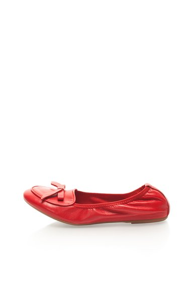 Balerini elastici rosii din piele