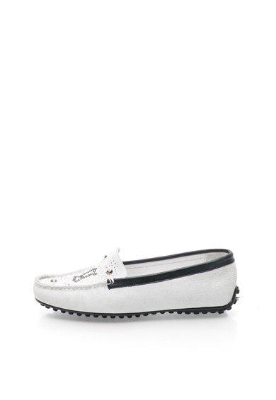 Pantofi loafer alb murdar din piele intoarsa cu strasuri Drive G de la John Galliano