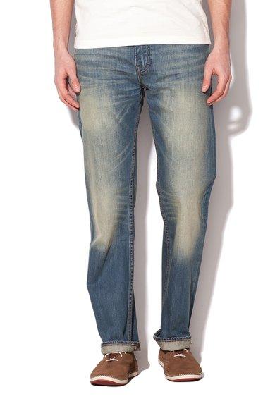 Jeansi drepti bleu cu aspect decolorat Ellsworth