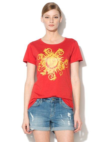 Tricou Rosu Cu Logo Galben