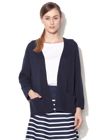 Cardigan bleumarin supradimensionat tricotat fara inchidere de la United Colors Of Benetton