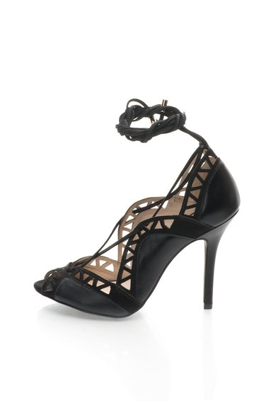 Pantofi negri din piele si piele intoarsa cu siret
