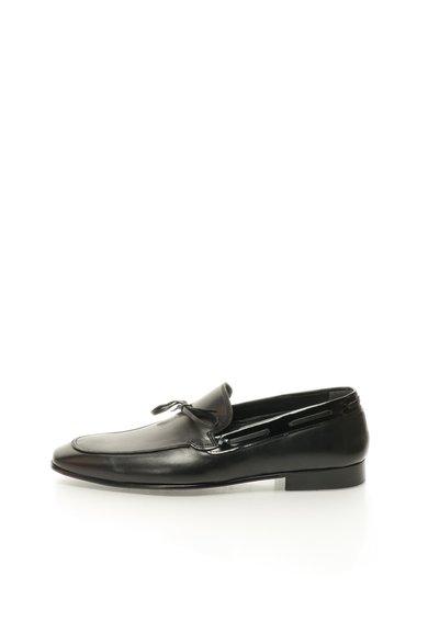 Pantofi loafer negri din piele cu garnituri din piele lacuita