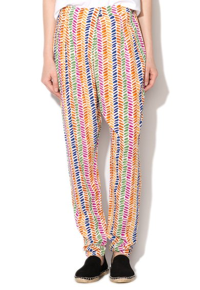 FashionDays.ro: Pantaloni albi cu imprimeu multicolor Mai Pepe Jeans London
