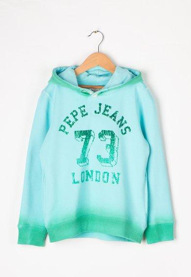 Pepe Jeans London Hanorac albastru aqua cu verde si imprimeu catifelat
