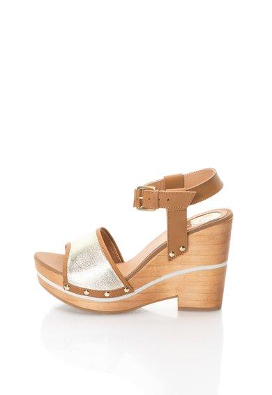 Sandale wedge auriu cu maro Navia