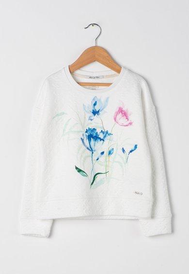 Pepe Jeans London Bluza alba texturata cu imprimeu Simone