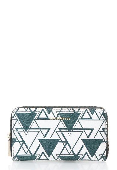 FashionDays.ro: Portofel verde inchis cu alb cu fermoar si imprimeu geometric COCCINELLE