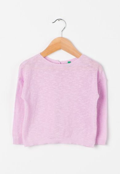 United Colors Of Benetton Bluza tricotata roz orhidee deschis cu nasturi pe spate