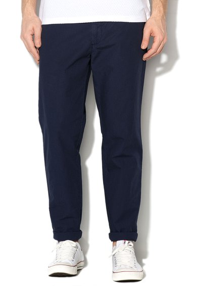 Pantaloni bleumarin slim fit texturati de la United Colors Of Benetton