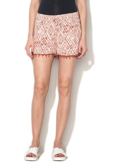 Only Pantaloni scurti rosu caramiziu cu alb murdar cu garnituri crose