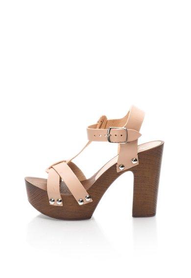 FashionDays.ro: Sandale bej de piele cu platforma Lucienne Versace 1969 Abbigliamento Sportivo