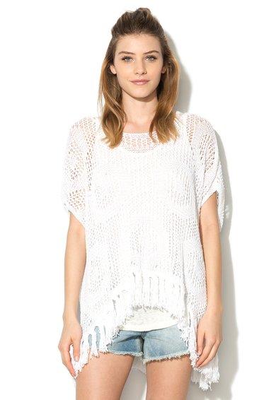 Bluza alba asimetrica din tricot cu croiala lejera