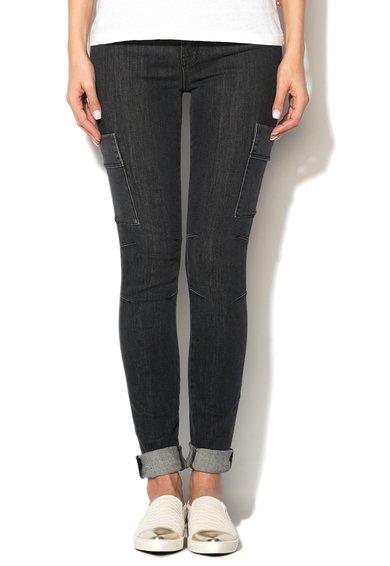 Jeansi ultra skinny gri inchis Sara