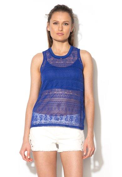 FashionDays.ro: Top albastru persan de plasa brodata GUESS JEANS