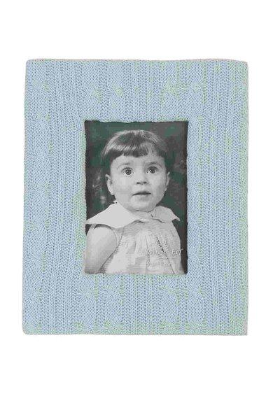Rama foto albastru deschis cu aplicatie tricotata