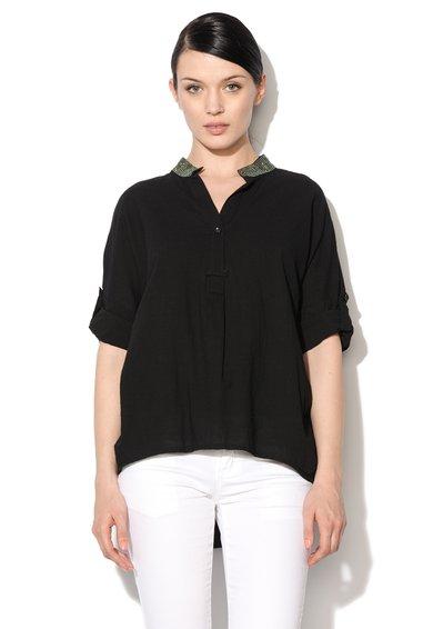FashionDays.ro: Camasa tip tunica neagra cu guler cu strasuri NISSA